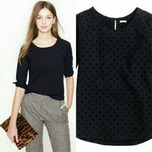 J. Crew Velvet-dot Ponte Top in Black